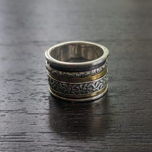Silpada Brass + Sterling Silver Spinner Ring